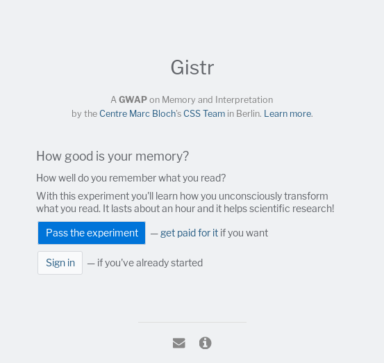 Gistr Welcome page